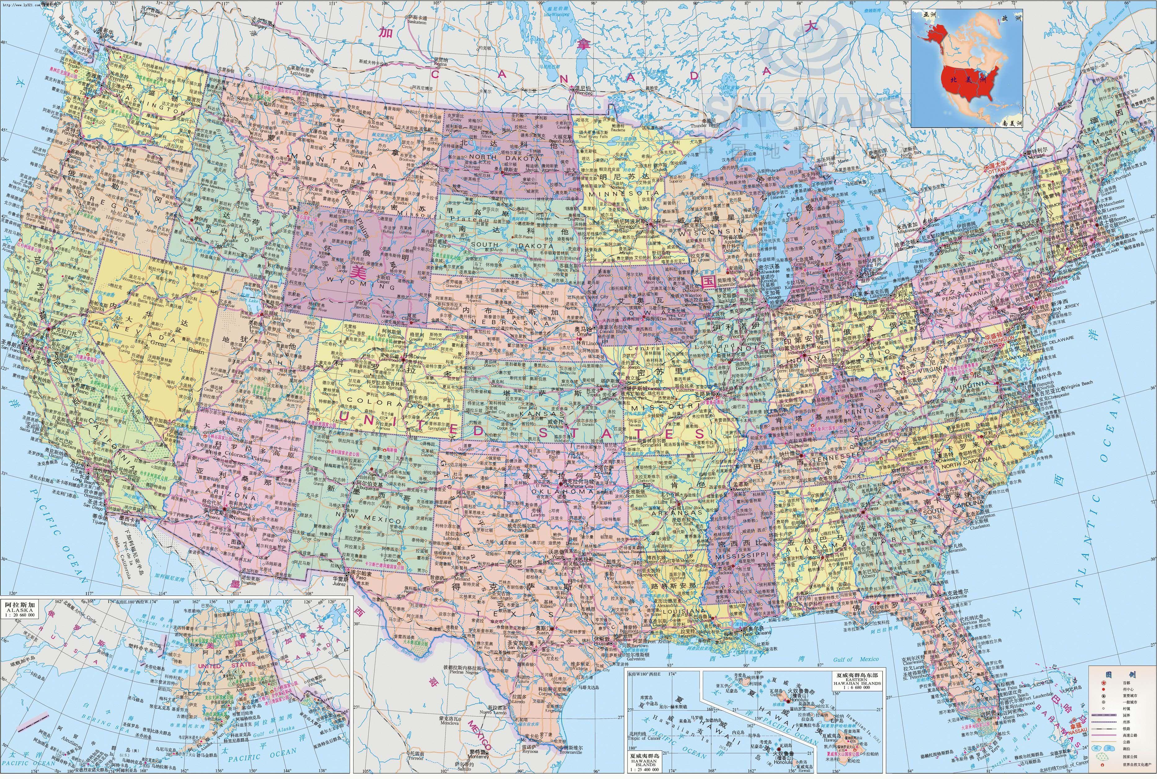 美国地图中文版 - 点击看大图