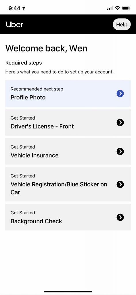 Ubereats司机注册需要提供的个人资料