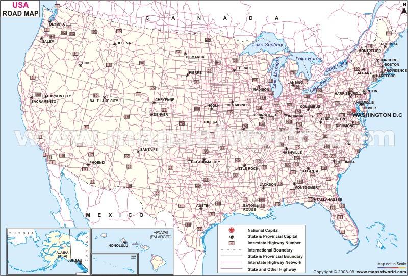 美国地图全图-公路图